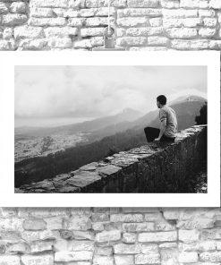 Plakat czarno-biały z górami