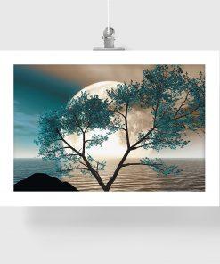 plakat na ścianę salonu z drzewem i księżycem