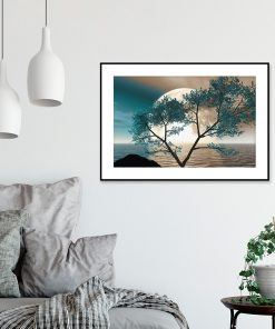 plakat z motywem księżyca nad wodą do salonu