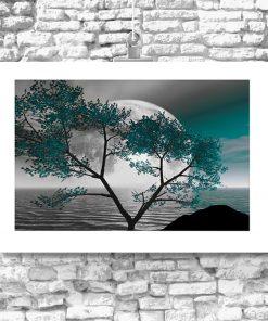 plakat z motywem drzewa i księżyca do salonu