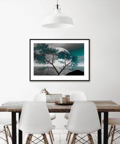 plakat z księżycem nad wodą do salonu