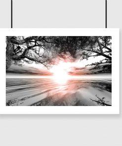 plakat z motywem zachodu słońca na ścianę salonu