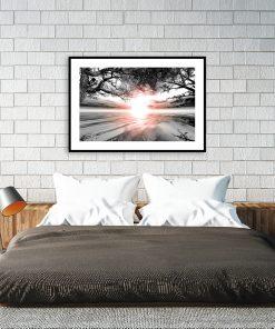 plakat do sypialni z zachodem słońca