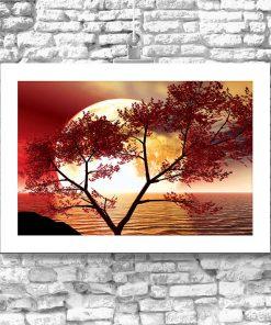 plakat zachodzące słońce i drzewo do salonu