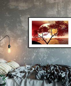 plakat z zachodzącym słońcem do sypialni