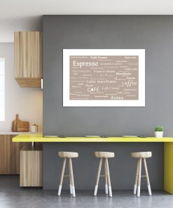 białe napisy an brązowym plakacie
