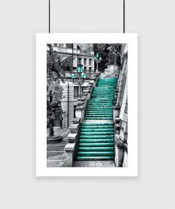 plakat z kolorowymi schodami
