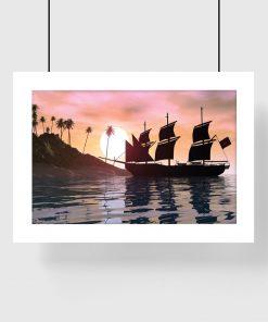 plakat z motywem statku i słońca