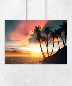 motyw palm na łazienkowym plakacie