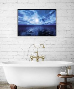 dekoracja do łazienki z niebieskim wzorem