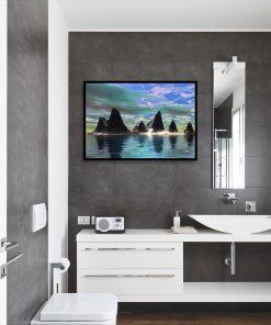 motyw gór na plakacie do łazienki