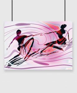 plakat z różowymi mazami