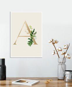 botaniczna dekoracja z literka A