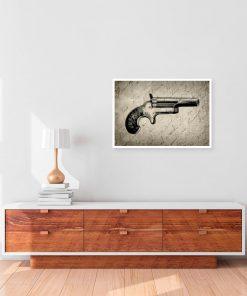 plakat z pistoletem retro