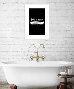 monochromatyczny plakat do łazienki