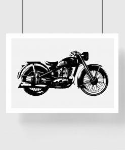 plakat z czarnym motocyklem