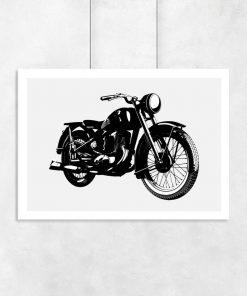 plakat w starym stylu z motocyklem