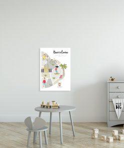 plakat dziecięcy z miastem Barcelona