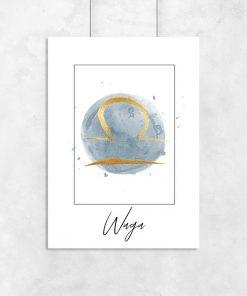 plakat z motywem znaku zodiaku - waga