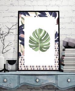 plakat salonowy z roślinnym wzorem