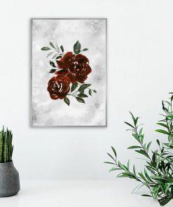 plakat z motywem czerwonych róż