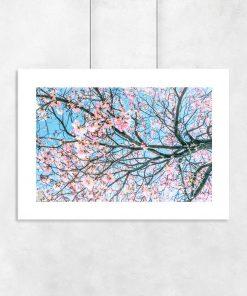 plakat z kwiatami na drzewie