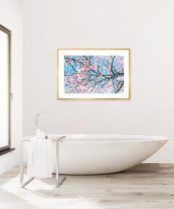 plakat z kwitnącym drzewem