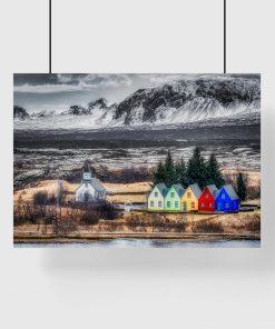 plakat z islandzkim krajobrazem