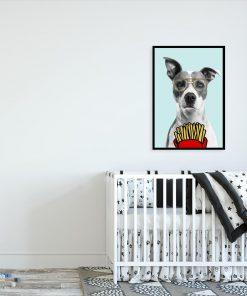 plakat z motywem psa