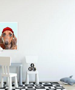 plakat z psem w czapce