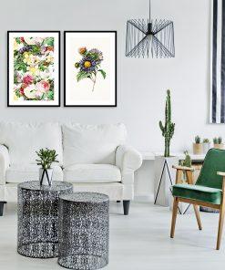 dyptyk z kolorowymi kwiatami