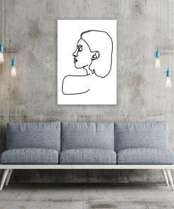 plakat z kobietą narysowaną sztuką line art
