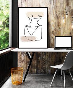 plakat biurowy przedstawiający kobietę narysowaną liniami