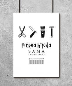 plakat przedstawiający narzędzia do golenia