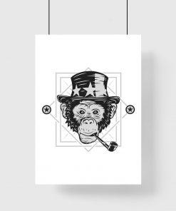 plakat przedstawiający małpę w kapeluszu