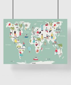 plakat z motywem mapy