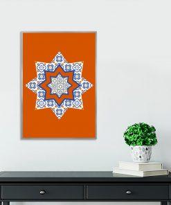 pomarańczowy plakat i niebieskie wzory