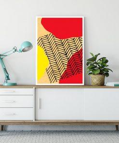 motyw czerwono-żółtych plam i kratki