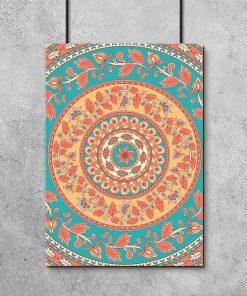 plakat z kolorowymi wzorami kalamkari