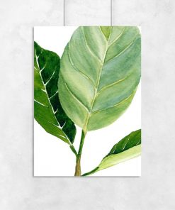 plakat z zielonym liściem na białym tle