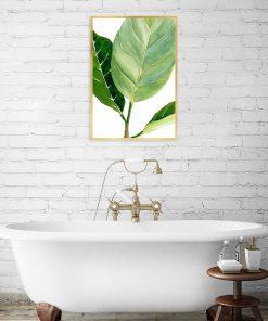 zielony liść na plakacie do łazienki