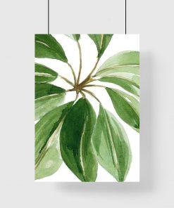 plakat z zielonymi liśćmi