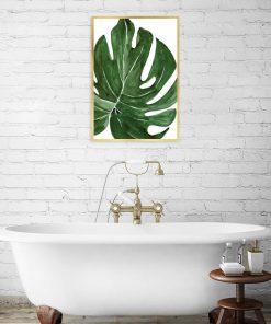 plakat do łazienki z liściem
