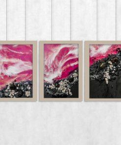 tryptyk różowy jako dekoracja