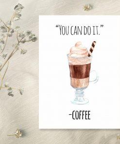 plakat z kawą motywującą