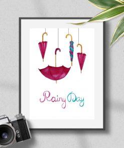Plakat w ramie z napisami i parasolkami