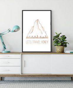 plakat z napisem Let's travel honey