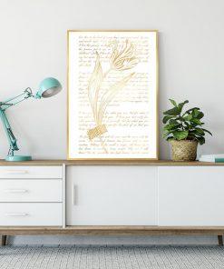 plakat z tulipanem i napisami