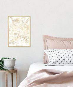 plakat z motywem złotych kwiatów