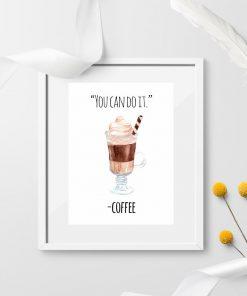 ścienna dekoracja jako kawa i plakat